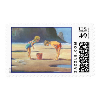 CHILDREN PLAYING on the BEACH by SHARON SHARPE Postage
