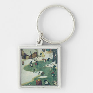 Children Playing on the Frozen River Silver-Colored Square Keychain