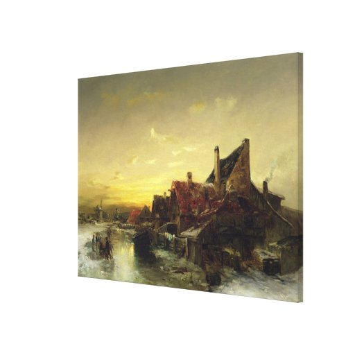 Children Playing on the Ice Stretched Canvas Prints