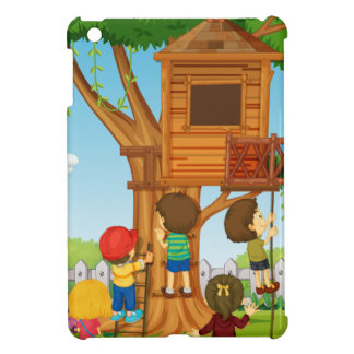 Children playing on the treehouse case for the iPad mini