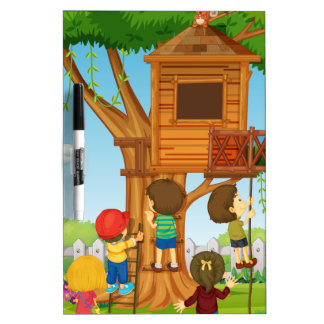 Children playing on the treehouse dry erase board