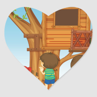 Children playing on the treehouse heart sticker