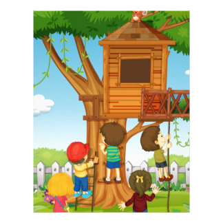 Children playing on the treehouse letterhead
