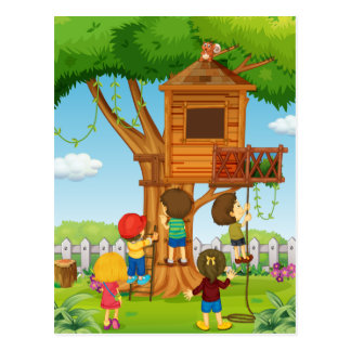 Children playing on the treehouse postcard