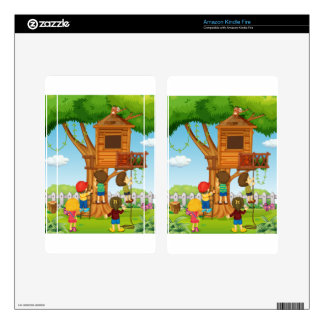 Children playing on the treehouse skin for kindle fire