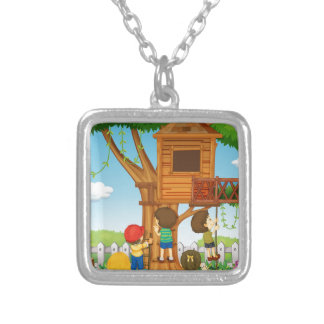 Children playing on the treehouse square pendant necklace