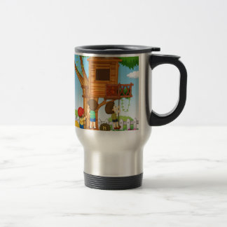 Children playing on the treehouse travel mug