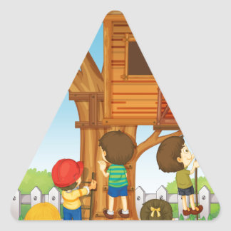 Children playing on the treehouse triangle sticker