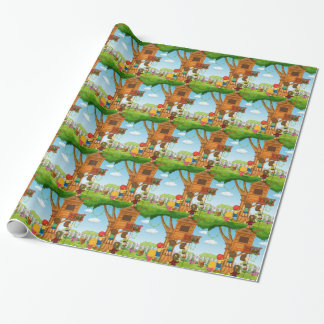 Children playing on the treehouse wrapping paper