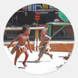 Children Playing Round Stickers