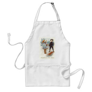 Children Playing Snow Winter Sled Sleigh Adult Apron