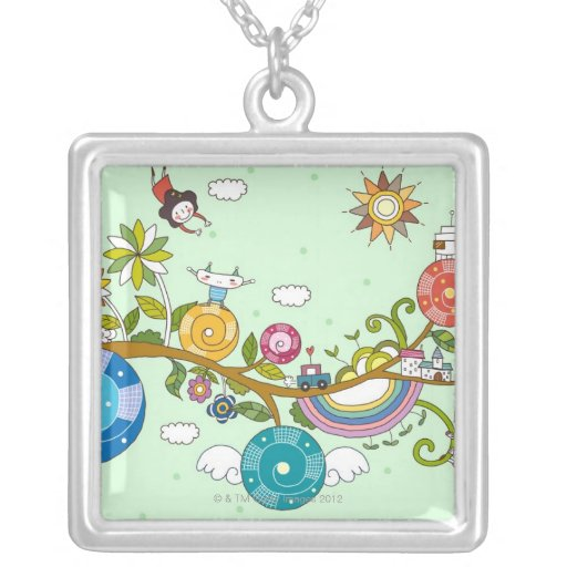 Children Playing Square Pendant Necklace