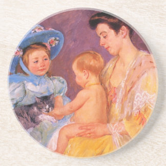 children playing with a cat fine art drink coasters