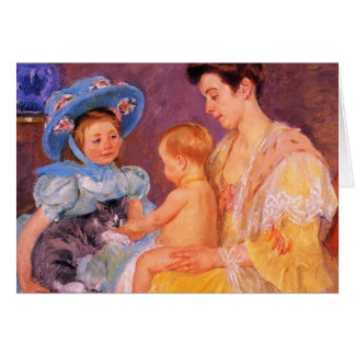children playing with a cat fine art greeting card