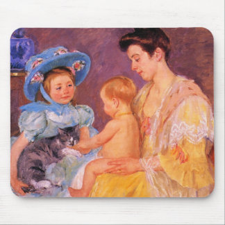 children playing with a cat fine art mouse pad