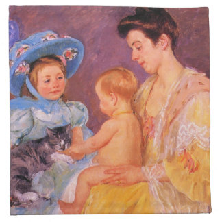 children playing with a cat fine art printed napkins
