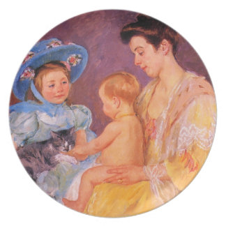children playing with a cat fine art party plates