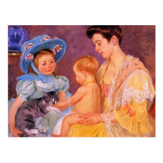 children playing with a cat fine art postcard