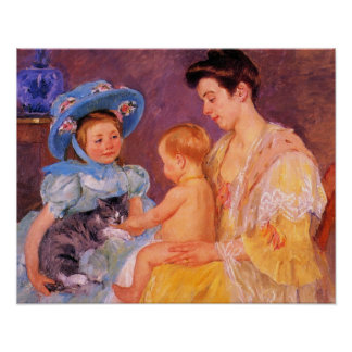 children playing with a cat fine art poster