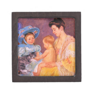 children playing with a cat fine art premium keepsake boxes
