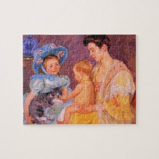 children playing with a cat fine art jigsaw puzzles