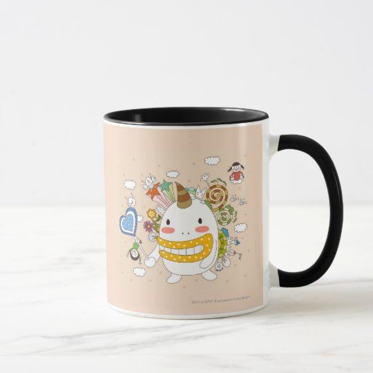 Children playing with monster mug