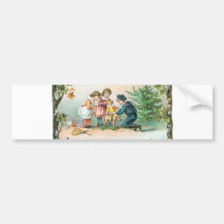 Children Playing with Toys on Christmas Bumper Stickers