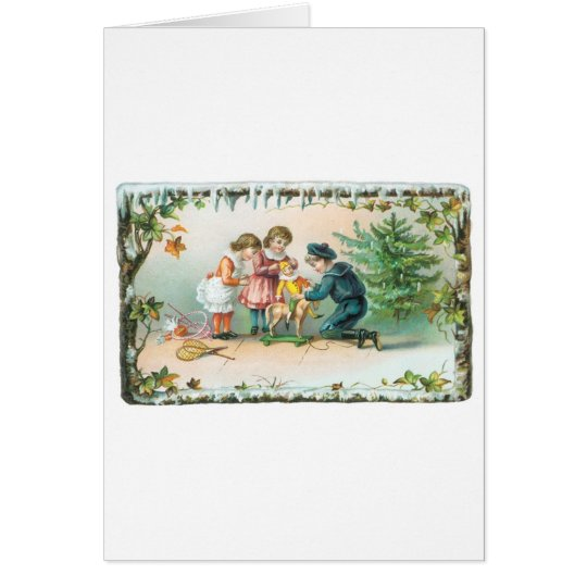 Children Playing with Toys on Christmas Card