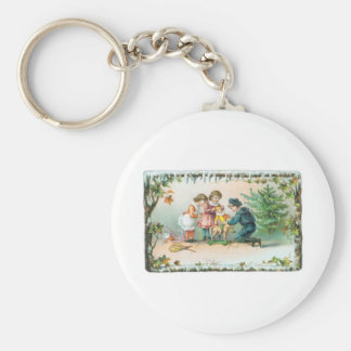 Children Playing with Toys on Christmas Keychain