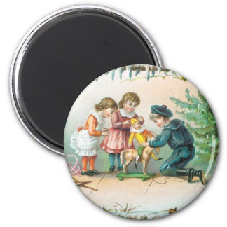 Children Playing with Toys on Christmas Fridge Magnets