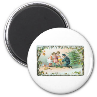 Children Playing with Toys on Christmas Magnet