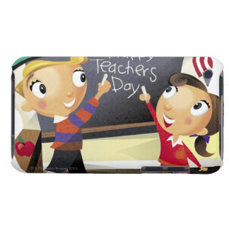Children pointing at a chalkboard barely there iPod cover