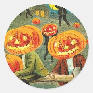 Children Pumpkin Jack O' Lantern Trick R Treat Classic Round Sticker
