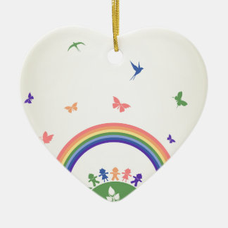 Children rainbow ceramic ornament