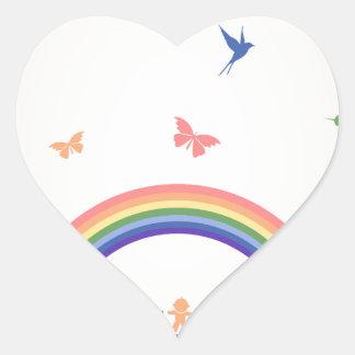 Children rainbow heart sticker