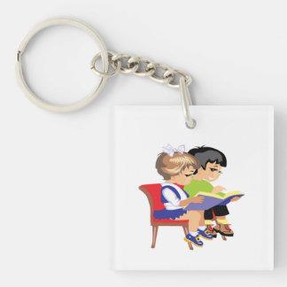 Children Reading 2 Keychain