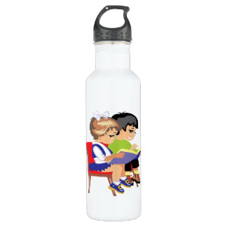 Children Reading 2 Stainless Steel Water Bottle