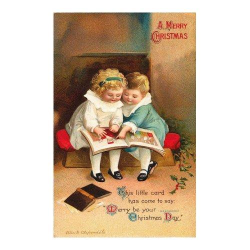 Children Reading Book Christmas Card card