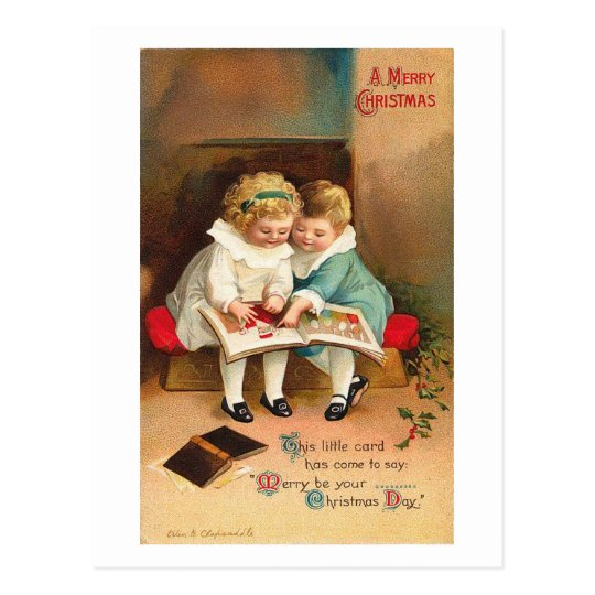 Children Reading Book Christmas Card