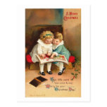 Children Reading Book Christmas Card Post Cards