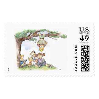 Children reading books postage