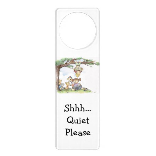 children reading books - shhh quiet please door knob ...
