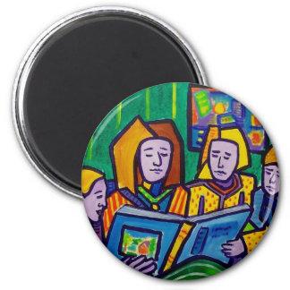 Children Reading by Piliero 2 Inch Round Magnet