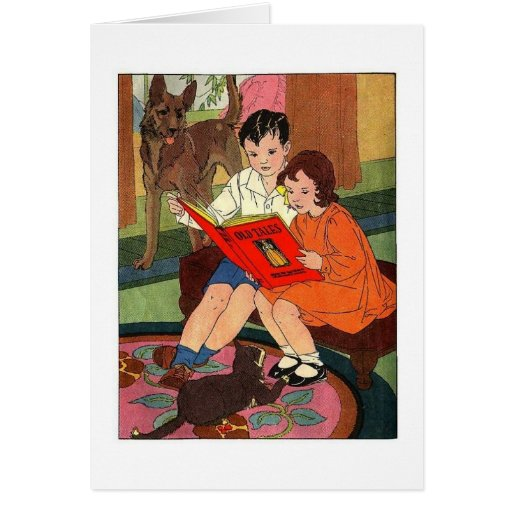 Children Reading Greeting Card