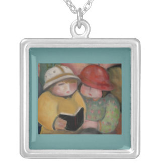 children reading necklace