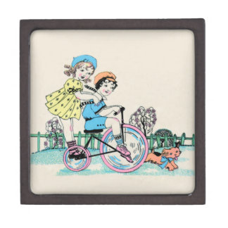 Children Riding a Bicycle - Art Deco Gift box