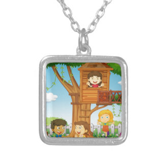 Children riding and playing in the park square pendant necklace