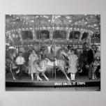 Children Riding Carousel, 1925. Vintage Photo Poster