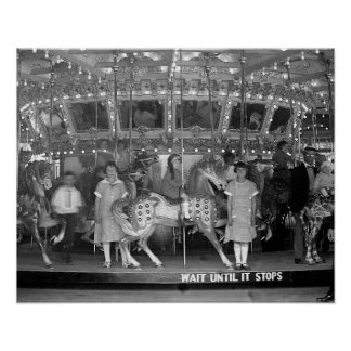 Children Riding Carousel, 1925. Vintage Photo Poster