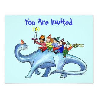 Children Riding Dinosaur BIRTHDAY PARTY INVITATION